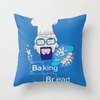 baking Throw Pillows featuring Baking Bread by DarkChoocoolat