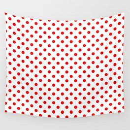 Polka dots Red dots over white Wall Tapestry