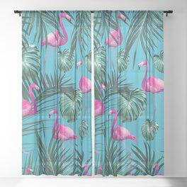 Tropical Flamingo Pattern #4 #tropical #decor #art #society6 Sheer Curtain