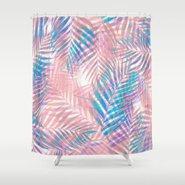 Palm Leaves - Iridescent Pastel Shower Curtain