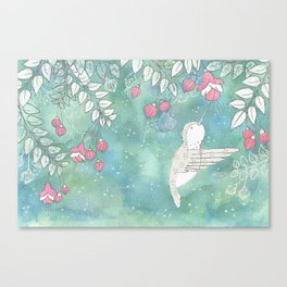 Hummingbird's Garden: In the fuschias Canvas Print