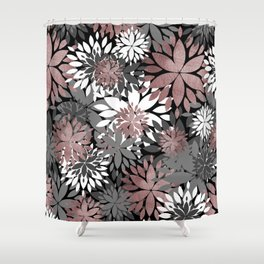 Pretty rose gold floral illustration pattern Shower Curtain