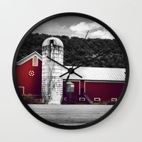 farm Wall Clocks featuring farm by Alyssa Vielee
