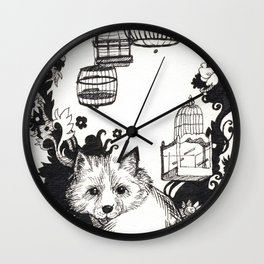 Fox and Birdcages  Wall Clock