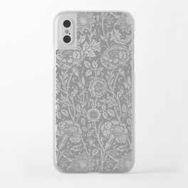 "William Morris Floral Pattern | ""Pink and Rose"" in Grey and White Clear iPhone Case"