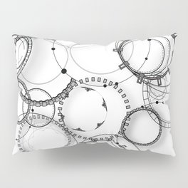 Steampunk abstract black and white geometric art Pillow Sham