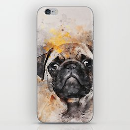 Pug Puppy Using Watercolor On Raw Canvas iPhone Skin