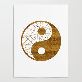 Abstract YIN AND YANG Taijitu Symbol | gold Poster