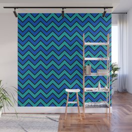 Geometric modern black blue green chevron pattern Wall Mural