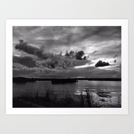 Monochrome Sunset Art Print