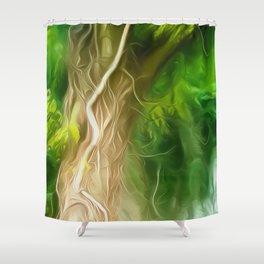 Dream Light Green Tree Shower Curtain