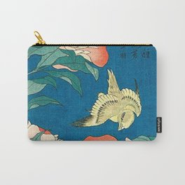 Katsushika Hokusai Peonies and Canary 1834 Carry-All Pouch