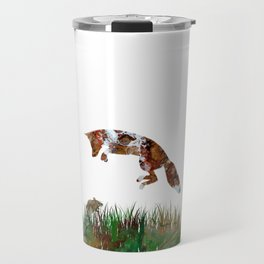 Jumping Fox and Mouse Abstract Fluid Art Design Travel Mug