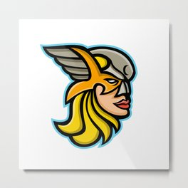 Valkyrie Warrior Mascot Metal Print