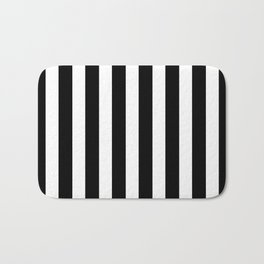 Classic Black and White Football / Soccer Referee Stripes Bath Mat