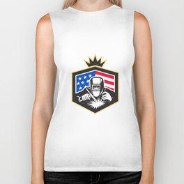 Welder Arc Welding USA Flag Crest Retro Biker Tank
