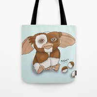 gizmo Tote Bags featuring Gizmo by Melissa Sanchez Art
