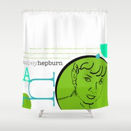 Audrey Hepburn / Typography Layout / Lime Shower Curtain