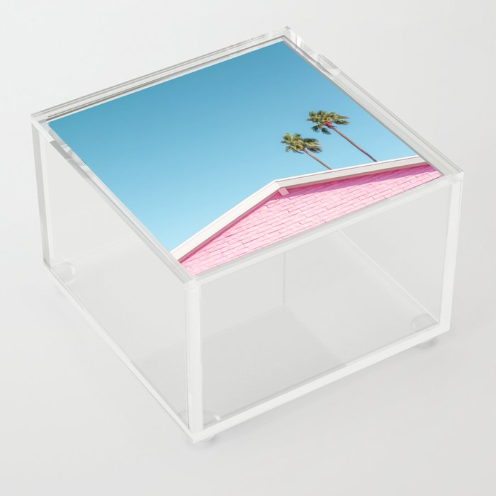 Pink House Roofline with Palm Trees (Palm Springs) Acrylic Box