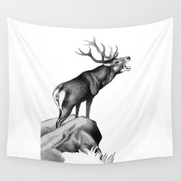 Stag Roaring in the Rut Wall Tapestry