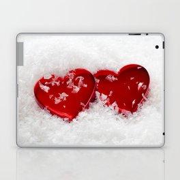 Love Hearts in Snow Laptop & iPad Skin