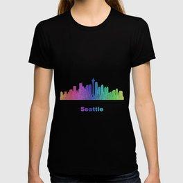 Rainbow Seattle skyline T-shirt