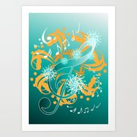music notes Art Prints featuring Music Notes  by HK Chik