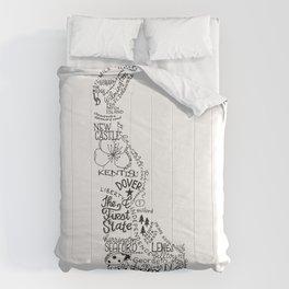 Delaware - Hand Lettered Map Comforters
