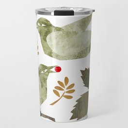 Birds and Holly in Greens, Golds and Red Travel Mug