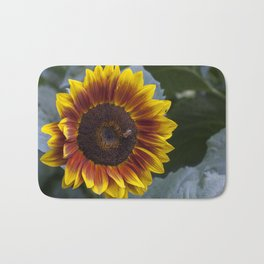 Red Sunflower with Bee Bath Mat
