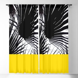 Black and White Tropical Palm Leaves on Sunny Yellow Blackout Curtain