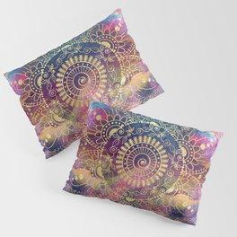Gold watercolor and nebula mandala Pillow Sham