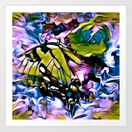 The Swallowtail Butterfly In Abstract Art Print