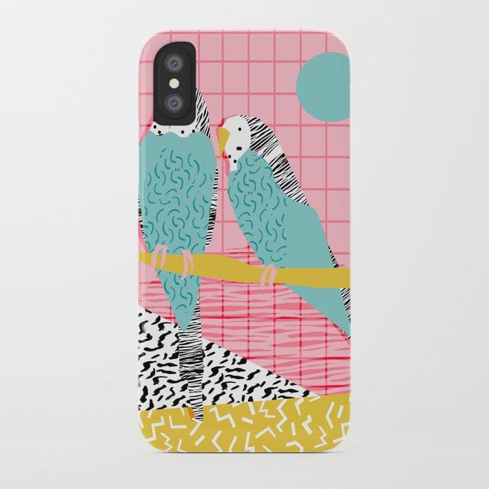 Hottie - throwback retro 1980s 80s style memphis dots bird art neon cool hipster college dorm art iPhone Case