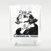 beethoven Shower Curtains featuring Beethoven by Stitched up designs