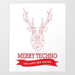 Merry Techno Christmas Art Print