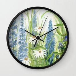 Watercolor Botanical Garden Flower Wildflower Blue Flower Garden Wall Clock