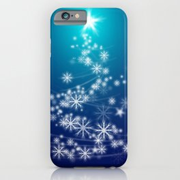 Whimsical Glowing Christmas Tree with Snowflakes in Blue Bokeh iPhone Case