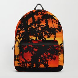 SHADOW TREES AGAINST A VIVID RED SUNSET - OREGON Backpack