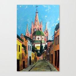 Al Dama street in San Miguel Mexico Canvas Print