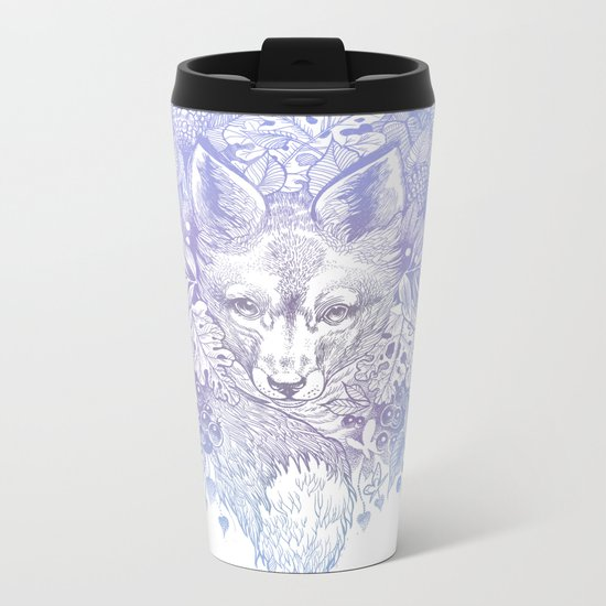 Pastel Purple Hiding Fox Drawing Metal Travel Mug