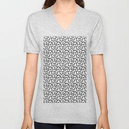 Black and White Memphis Squiggle Pattern Unisex V-Neck
