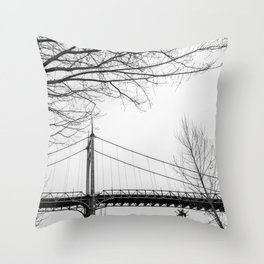 Architectural shot of St. Johns Bridge in Portland Throw Pillow