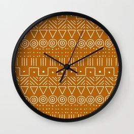 Mudcloth Style 1 in Orange Wall Clock