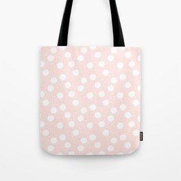 Snowfall White Polka Dots on Pink Tote Bag