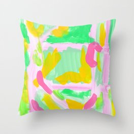 Watermelon Day - Lime Green Mint Colorful Abstract Modern Throw Pillow