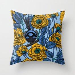 Wren in the roses Throw Pillow