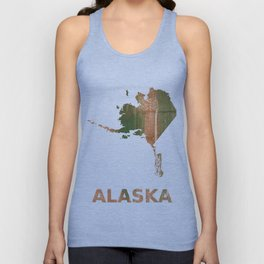 Alaska map outline Peru green streaked wash drawing illustration Unisex Tank Top