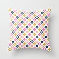 coachella Throw Pillows featuring Southwest - native aztec geometric pattern print desert tribe festival clothes coachella  by CharlotteWinter