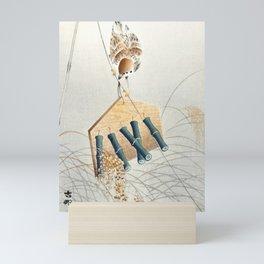 Ring sparrow on scarecrow by Ohara Koson Mini Art Print